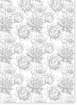 Designer Metallic A4 Paper 120gsm Baroque Waterlily Silver on White