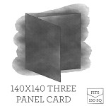 140 x140 Printed Three Panel Card - White Ink Printing Double Sided