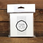 Thank You Deco Square Printed Card Pack Blanc Pack 10 <br> <span class=sale>On Sale</span>
