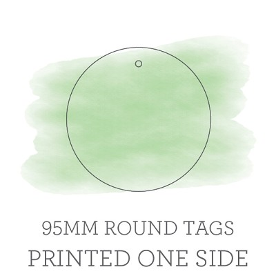 95mm Round Single Sided Die Cut Tags with 3mm Hole