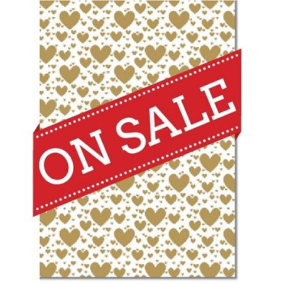Designer Letterpress A4 Paper 104gsm Pop Hearts Gold