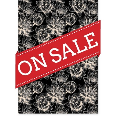 Designer Metallic A4 Paper 120gsm Baroque Waterlily Black Reversed