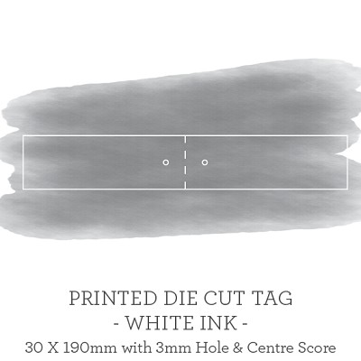 180x30mm Printed Scored Tag Single Sided with 3mm hole - WHITE INK