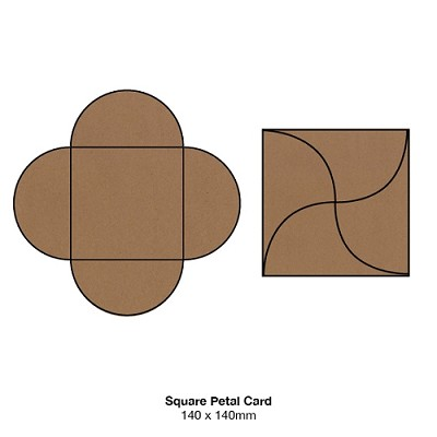 Buffalo Board 140x140 Petal Card 283gsm Natural Brown