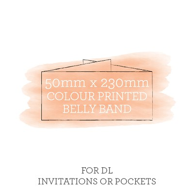 Printed Belly Band 50mmx230mm For DL Invitations or Pockets