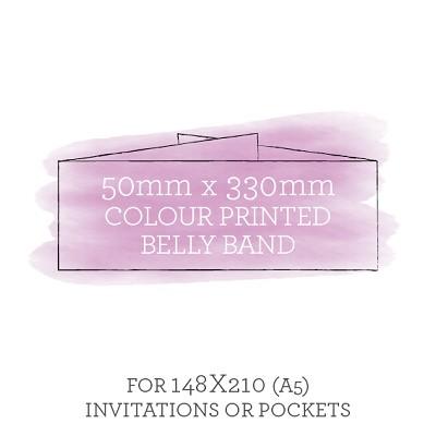 Printed Belly Band 50mmx330mm For Invitations to Fit C5 Envelopes