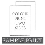 Colour Print Flat Card Double Sided Sample