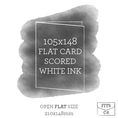 105x148 Printed Scored Card White Ink