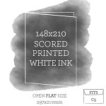 148 x 210 Scored Card White Ink