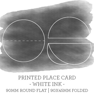 90mm Scored Circle Printed Place Card Single Sided - WHITE INK