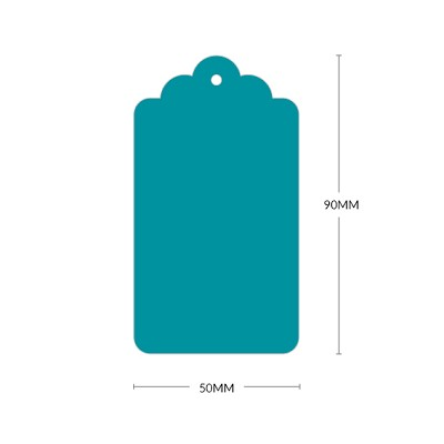 Bloom Scallop Tag with 3mm Hole 270gsm Teal