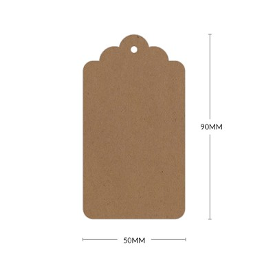 Buffalo Board Scallop Tag with 3mm Hole 283gsm Natural Brown
