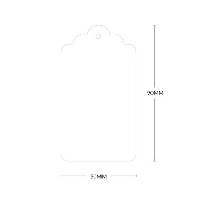Crane Lettra Scallop Tag with 3mm Hole 300gsm Fluoro White