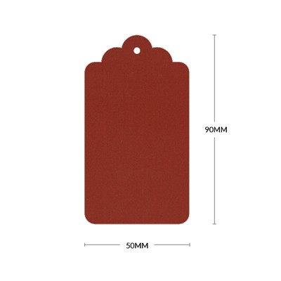Eco Grande Scallop Tag with 3mm Hole 308gsm Rouge