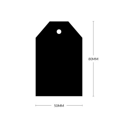 Milkshake 80x50mm Tapered Tag with 5mm Hole 308gsm Nero