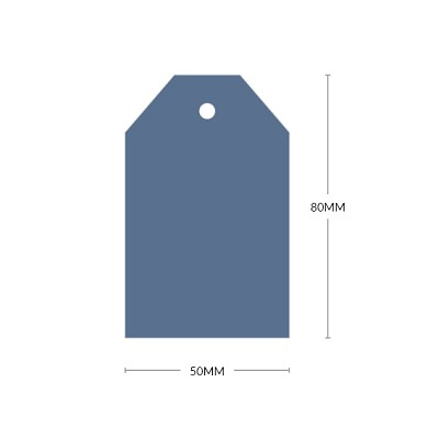 Bloom 80x50mm Tapered Tag with 5mm Hole 270gsm Light Royal