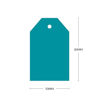 Bloom 80x50mm Tapered Tag with 5mm Hole 270gsm Teal