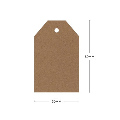 Buffalo Board 80x50mm Tapered Tag with 5mm Hole 283gsm Natural Brown