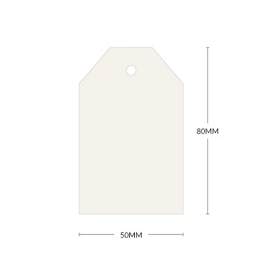 Neenah Cotton 80x50mm Tapered Tag with 5mm Hole 297gsm Pearl White