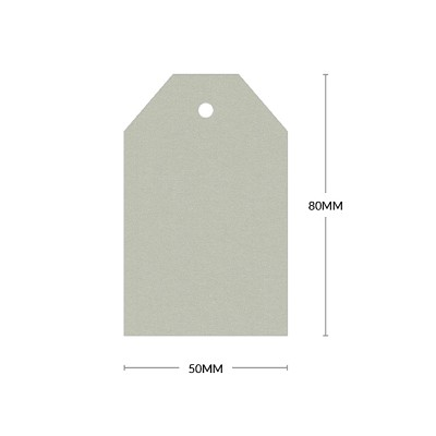 Eco Grande 80x50mm Tapered Tag with 5mm Hole 308gsm Mist Grey