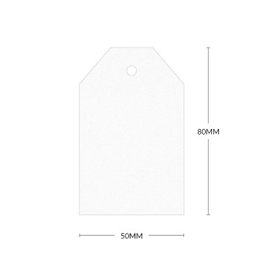 Glamour Puss 80x50mm Tapered Tag with 5mm Hole 270gsm Diamond White