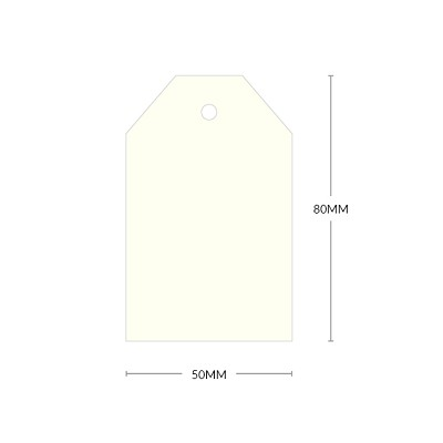 Via Vellum Tag Shape with 5mm Hole 270gsm Warm White