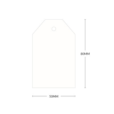 Versa Vellum 80x50mm Tapered Tag with 5mm Hole 297gsm Brilliant White