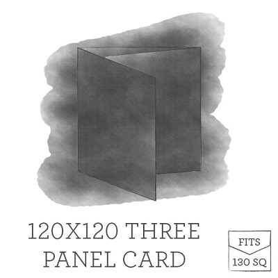 120 x 120 Printed Three Panel Card - White Ink Printing
