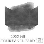 105 x148 Printed Four Panel Card - White Ink Printing Double Sided