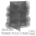 120 x180 Printed Three Panel Card - White Ink Printing Double Sided