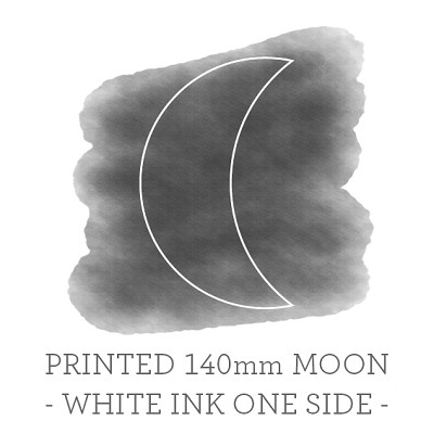 140mm Moon Printed Place Card Single Sided - WHITE INK