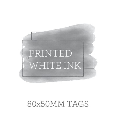 80x50mm Double Sided Tags with 3mm Hole White Ink Printing