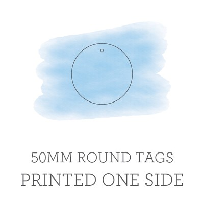 50mm Circle Tags Printed One Side with Optional Hole